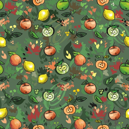 stylize: Fruits , seamless background for your design  Illustration