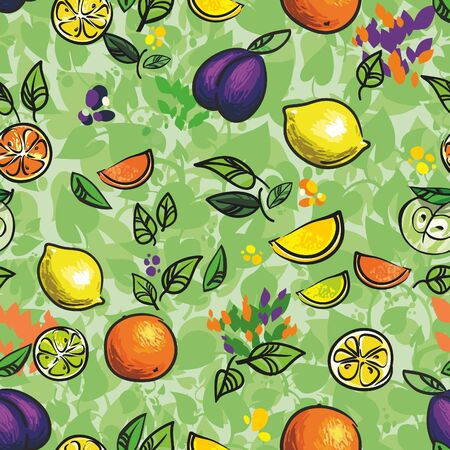 Fruits , seamless background for your design Stock Vector - 12454675