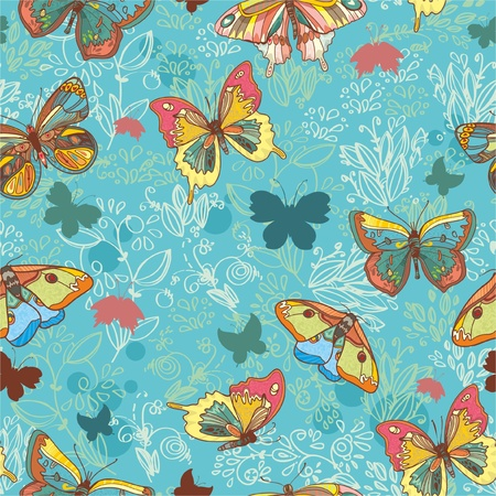 Seamless texture with beautiful butterflies and flowers