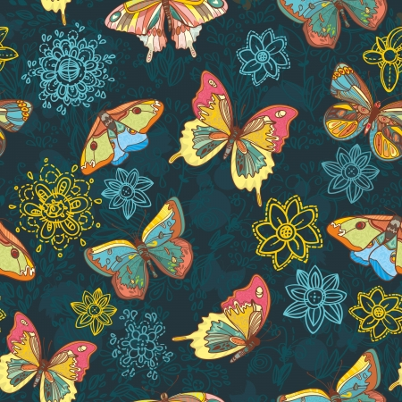 Seamless texture with beautiful butterflies and flowers Vector