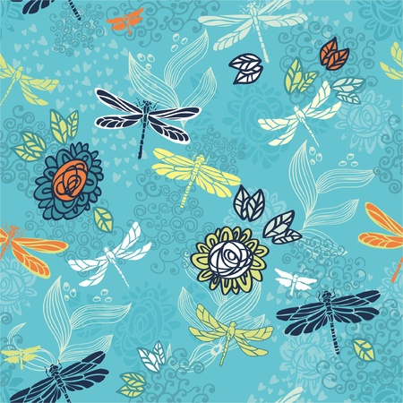 floral seamless background  Romantic seamless pattern  Vector