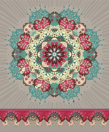 Illustration. Beautiful floral lace pattern. circle.  Ilustração