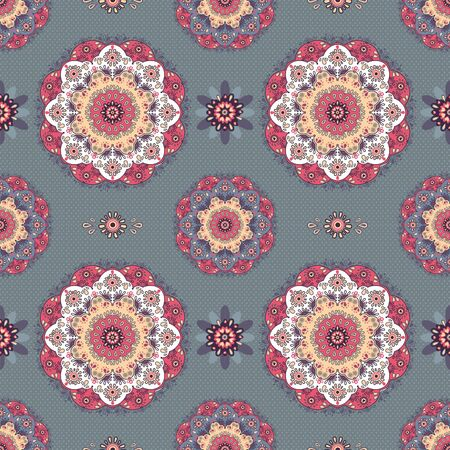 Lace flowers seamless pattern in pink and white on dark gray background Vector