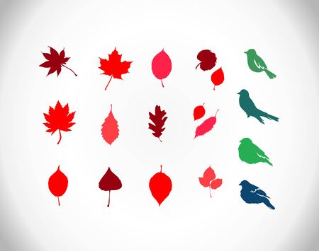 basswood: elements for your design  green and red leaves and birds Illustration