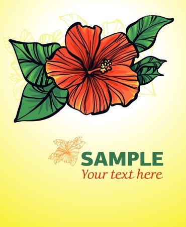 hawaii islands: yellow background with red flower Illustration