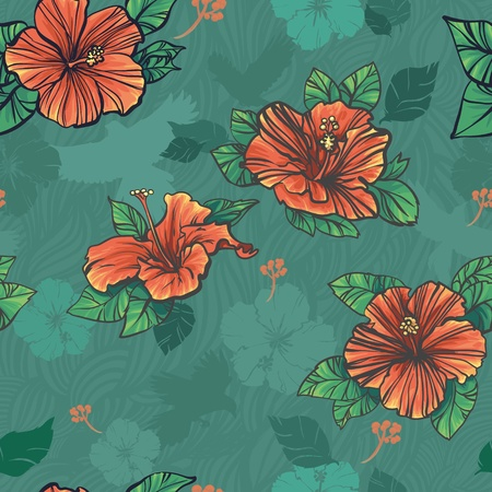 A repeating pattern of a hibiscus flower. Vector