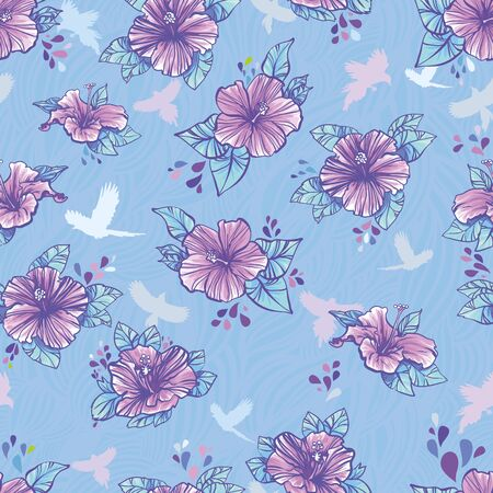 A repeating pattern of a hibiscus flower   Vector