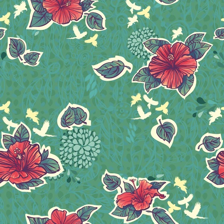 Seamless pattern with green red hibiscus flowers Vector