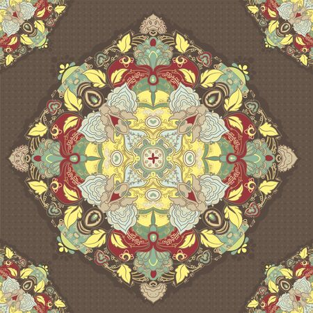 brown  ornamental round lace background, beautiful illustration Vector