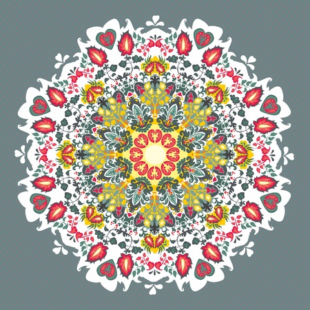 bright Ornamental round floral  seamless lace pattern Illustration