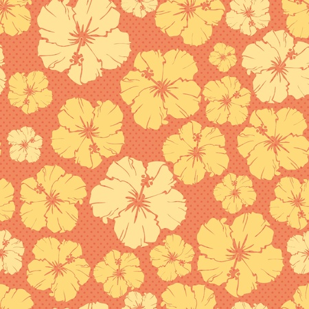 beautiful red hibiscus flower: orange floral repeating pattern of a hibiscus flower. Illustration