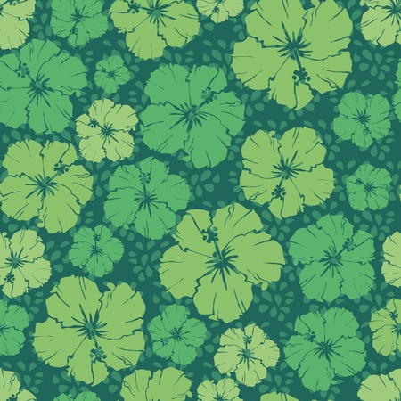 green floral repeating pattern of a hibiscus flower.