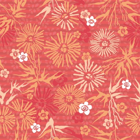 Japanese seamless floral pink pattern  flowers and leaves