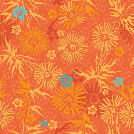orange floral  Japanese pattern leaves, flowers and plants Vector