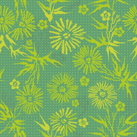 green floral  Japanese pattern leaves, flowers and plants Vector