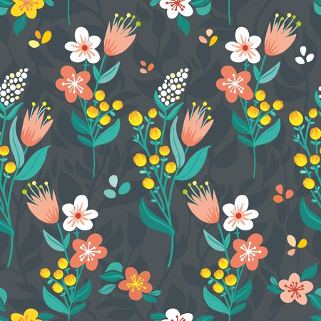 Beautiful stylized flowers, summer flowers  blue background, bright flowers and leaves  upright Illustration