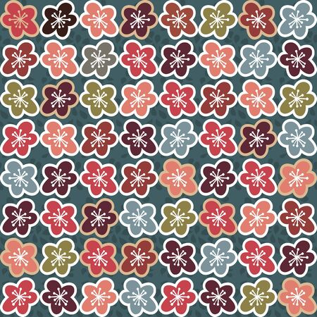 Beautiful stylized flowers, lots of different colors  five petals  warm colors Vector