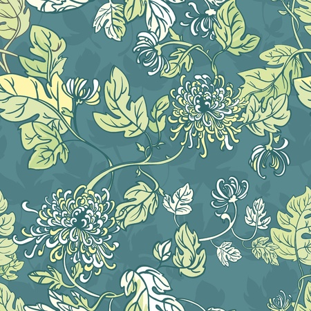 flowers with leaves, curly stems. Beautiful seamless background Vector
