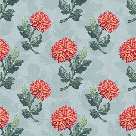 calendula flower: Seamless black and white pattern with chrysanthemum. Hand drawing seamless pattern with flowers