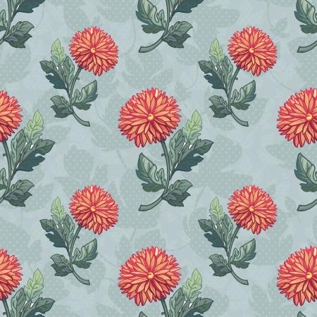 calendula: Seamless black and white pattern with chrysanthemum. Hand drawing seamless pattern with flowers
