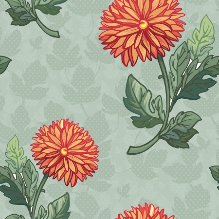 Seamless pattern with chrysanthemum.Hand drawing seamless pattern with flowers