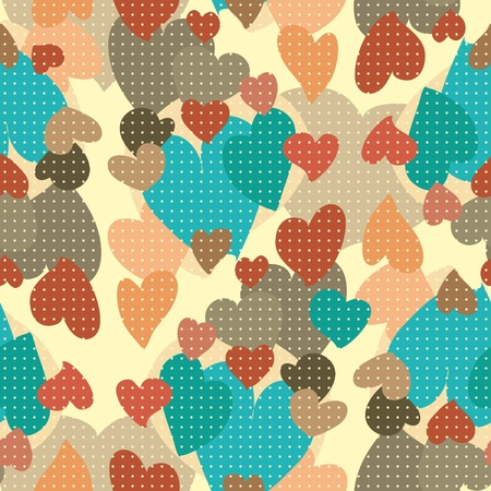 Hearts seamless pattern. Seamless pattern of bright colorful hearts Ilustrace