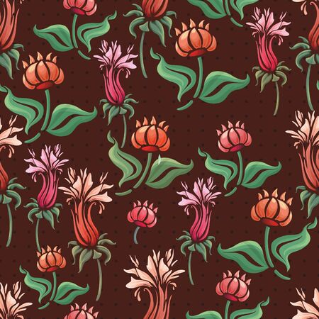 abstract floral seamless pattern colorful flowers Vector