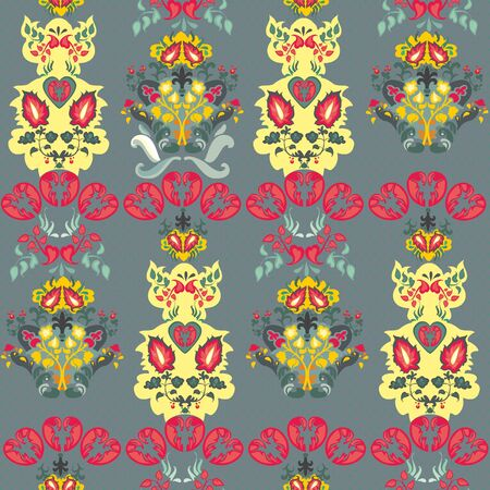 Abstract flowers seamless pattern  pink yellow gray Vector