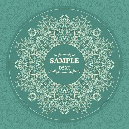 Ornamental round FLORAL lace pattern   Space for text Stock Vector - 13480781