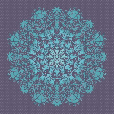 PATTERN FLORAL BLUE  lace  FLOWER ORNAMENTS ROUND