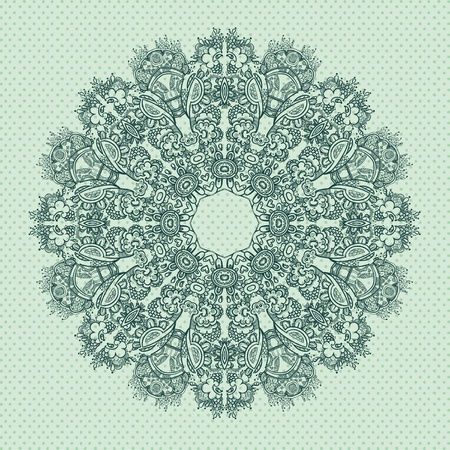 Ornamental round FLORAL lace pattern   blue gray