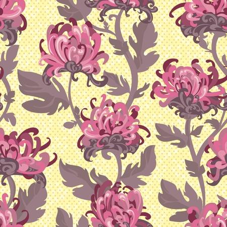 crisantemos: De fondo sin fisuras con los crisantemos, la ilustraci�n de flores en el estilo vintage Vectores