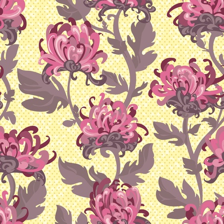 Seamless background with chrysanthemums, floral illustration in vintage style