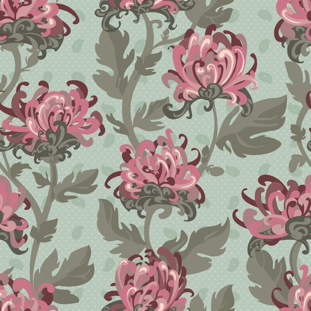 Seamless background with chrysanthemums, floral illustration in vintage style Stock Vector - 13480814