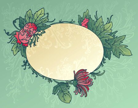 Oval blue background with flowers and leaves of chrysanthemum Vector