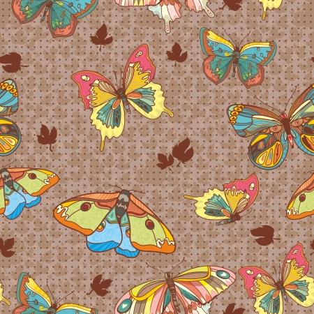 Seamless Wallpaper with floral ornament with leafs and butterfly for vintage design, Vector retro background