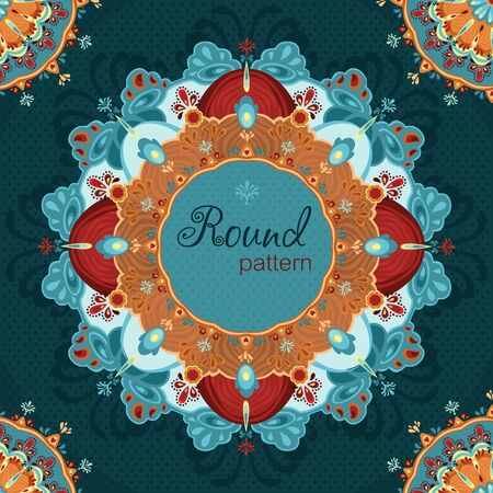 Ornamental roundfloral  lace pattern   Space for text