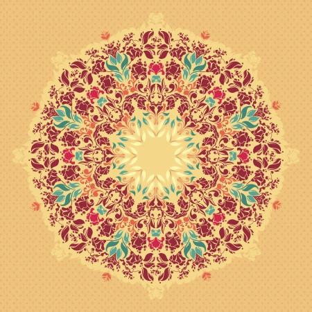 Ornamental round floral  lace pattern  kaleidoscopic floral pattern, mandala  Illustration