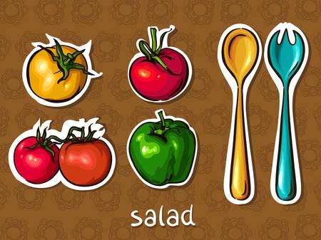 salad set  tomato, pepper, spoon and fork  taste of summer, vector illustration Stock Vector - 13720090