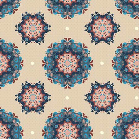 Ornamental round seamless floral lace pattern
