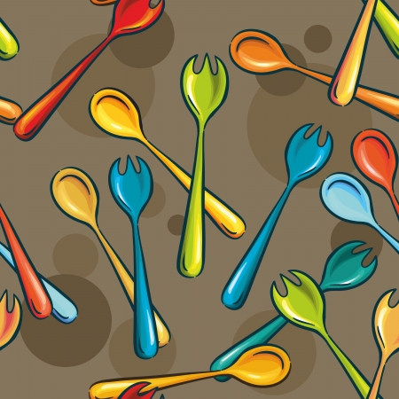 seamless background - forks and spoons. bright colors. utensils for salad Stock Vector - 13906472