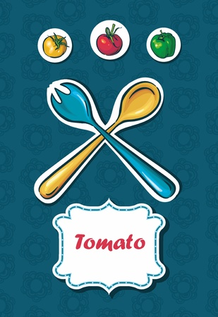 background with tomatoes and peppers. space for text Stock Vector - 13906486