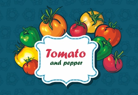 background with tomatoes and peppers. space for text Stock Vector - 13906487