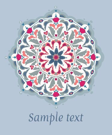 Ornamental round seamless floral lace pattern.
