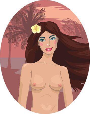 naked brunette girl on the beach. illustration Stock Vector - 13906562