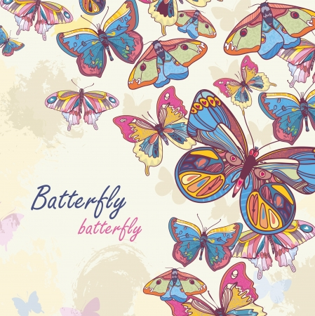 Abstract background with butterfly.  vector  artistic illustration