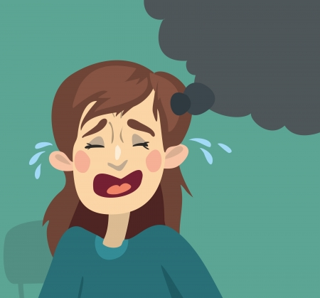 Cartoon girl crying  green background and a drop of tears Illustration