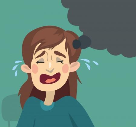 alone and sad: Cartoon ni�a llorando de fondo verde y una ca�da de las l�grimas