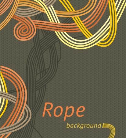 tangled: Vector line background design  interweaving strands background  braided rope Illustration