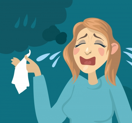 Cartoon girl crying  girl with a handkerchief and tears